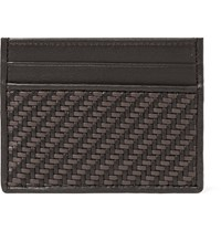 Ermenegildo Zegna Pelle Tessuta Leather Cardholder Dark Brown