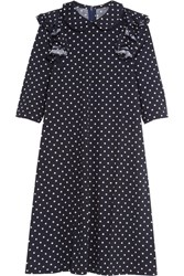 Comme Des Garcons Girl Ruffled Polka Dot Wool Jersey Dress Navy