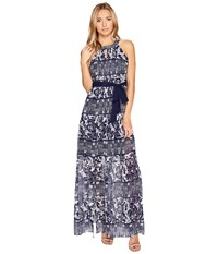 Vince Camuto Printed Chiffon Halter Maxi W Inset Pleating Navy Ivory Women's Dress Blue