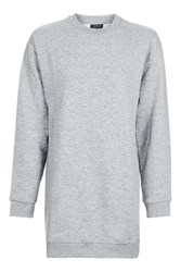 Topshop Petite Throw On Sweat Tunic Grey Marl