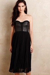 Anthropologie Nimes Pleated Party Dress Black