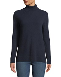 Neiman Marcus Modern Cashmere Turtleneck Sweater Navy