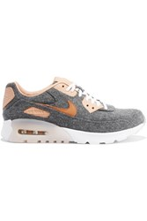 Nike Air Max 90 Ultra Premium Leather Trimmed Felt Sneakers Anthracite