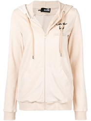 Love Moschino Zipped Hoodie Nude And Neutrals