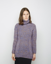 Zero Maria Cornejo Arah Alpaca Knit Funnel Neck Light Blue Oatmeal