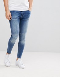 11 Degrees Super Skinny Biker Jeans In Midwash Blue With Zip Ankles