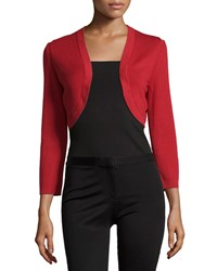 Carolina Herrera Cropped Sleeve Knit Bolero Poppy Red