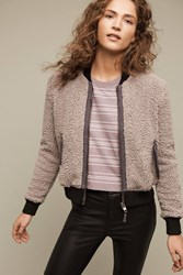 Anthropologie Blocked Sherpa Bomber Grey