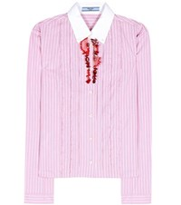 Prada Embellished Striped Cotton Shirt Pink
