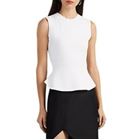 Narciso Rodriguez Ribbed Scuba Knit Peplum Top White