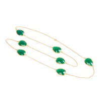 Latelita London Long Chain Necklace Gold Green Onyx Gold Green