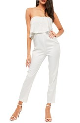 Missguided Women's Lace Ruffle Strapless Jumpsuit White