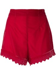 Philosophy Di Lorenzo Serafini High Waisted Shorts Red