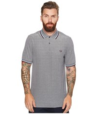 Fred Perry Twin Tipped Shirt Dark Carbon Oxford Sky Blue Shiraz Men's Short Sleeve Knit Gray