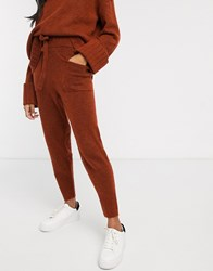 Micha Lounge Knitted Jogger Coord With Chunky Cuff Brown