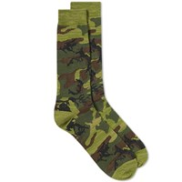 Anonymous Ism Camo Crew Sock Green