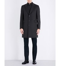 Paul Smith Single Breasted Wool And Cashmere Blend Coat Olive