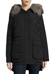 Derek Lam Fox Fur Trimmed Down Parka Black