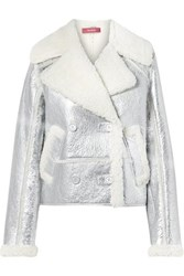 Sies Marjan Hensley Metallic Textured Leather And Shearling Jacket Silver