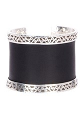 Lois Hill Sterling Silver Genuine Leather Inset Cuff No Color