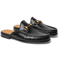 Gucci Open Roos Horsebit Leather Backless Loafers Black