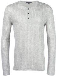 John Varvatos Ribbed Henley T Shirt Grey