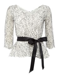 Eliza J 3 4 Sleeve Lace Top With Tie Belt Grey