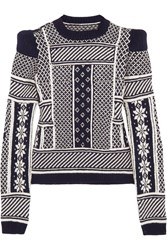 Maison Martin Margiela Fair Isle Wool Sweater Blue