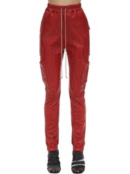 Rick Owens Leather Cargo Jogger Pants Red