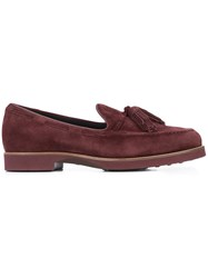 Tod's Loafers With Tassels Leather Suede Rubber Red