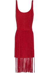 Tamara Mellon Fringed Suede Dress Crimson