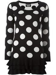 Boutique Moschino Polka Dot Ruffled Hem Mini Dress Black
