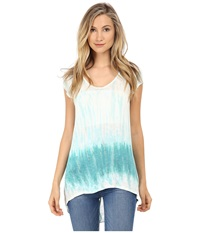 Young Fabulous And Broke Dali Top Turquoise Watercolor Border Women's Clothing White