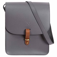 N'damus London Elizabeth Grey Leather Crossbody Satchel Bag