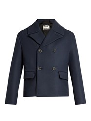 Acne Studios Merge Double Breasted Wool Coat Blue