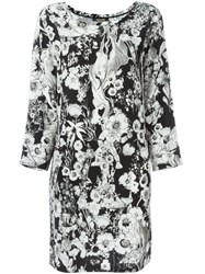Roberto Cavalli Floral Print Shift Dress Black