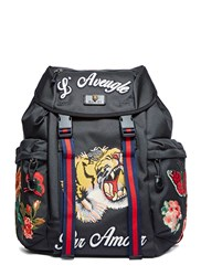 Gucci Zaino Embroidered Patch Canvas Backpack Black