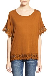 Junior Women's Chloe K Crochet Trim Tee Curry