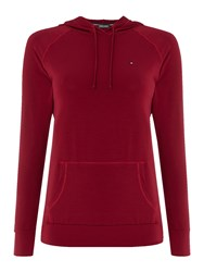 Tommy Hilfiger Fitness Hooded Top Burgundy
