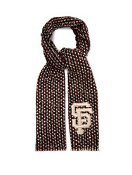 Gucci Sf Sequin Embellished Tweed Scarf Red