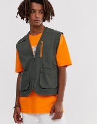 Brooklyn Supply Co. Co Utility Gilet With Pockets In Khaki Green
