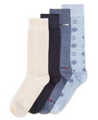 Gold Toe Nautical Dress Socks 4 Pack Assorted Blue