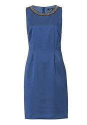 Vera Mont Satin Shift Dress Blue