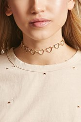 Forever 21 Heart Cutout Chain Choker Gold