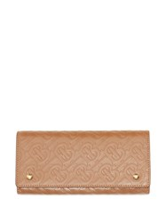 Burberry Monogram Leather Continental Wallet Neutrals