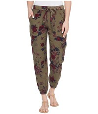 Lucky Brand Printed Cargo Pants Olive Multi Women's Casual Pants Burgundy