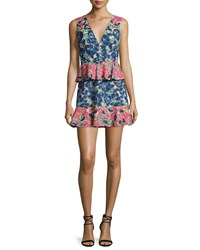 Bcbgmaxazria Caron Floral Print Peplum Fit And Flare Dress Women's