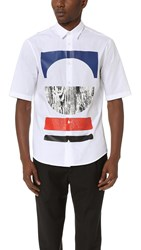 Mcq By Alexander Mcqueen Short Sleeve Sheehan Tribal Shirt Optic White