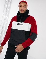 Religion Half Zip Borg Jacket With Nylon Details In Red Black