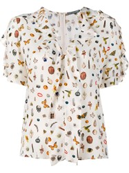 Alexander Mcqueen Obsession Print Silk Short Sleeve Top Nude And Neutrals